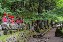 Statyer för Kanmangafuchi stenBuddha i Nikko område, Japan Fotografering för Bildbyråer