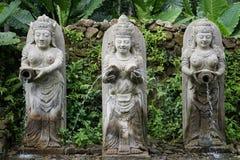 Statyer i Bali Indonesien av en springbrunn med djungeln i baksidan Arkivbild