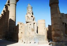 Statyer och kolonner inom templet av Luxor, Egypten arkivbilder