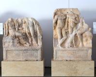 Statyer och lättnader i Aphrodisiasmuseet, Aydin, Aegean region, Turkiet - Juli 9, 2016 Arkivbilder