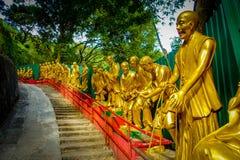 Statyer på tio tusen Buddhakloster i Sha tenn, Hong Kong, Kina Arkivbild