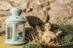 Statyett av Baby Jesus Christmas kort Arkivbilder