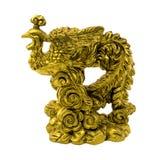 Statyett av den guld- fasanen som isoleras på en vit bakgrund Royaltyfri Fotografi
