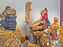 Statyett av den legendariska kinesen Kuan Yu God av kriget arkivbilder