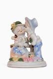 Statyett av romantiska par Arkivfoton