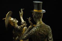 Statyett - röka kvinnan Fotografering för Bildbyråer