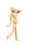 Statyettdiagramet trämanmänniska gör showerfarenheter emotionell handling på en vit bakgrund Arkivfoto
