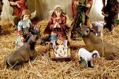 Statyetter av även födelse av Jesus Royaltyfri Fotografi