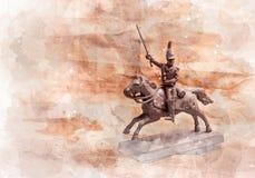 Statyettsoldat, rysk dragon Arkivfoto