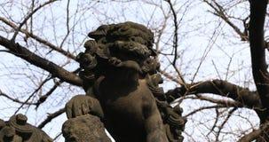 Statyf?rmyndarehund p? den Kanda relikskrin, i Tokyo att panorera arkivfilmer
