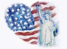 Statyfrihet på flaggaamerikan för Adobekorrigeringar hög för målning för photoshop för kvalitet för bildläsning vattenfärg mycket Royaltyfri Foto
