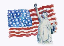 Statyfrihet på flaggaamerikan i vit bakgrund Arkivbild