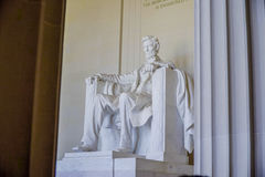 Statyn av Abraham Lincoln på Lincoln Memorial i Washington - WASHINGTON DC - COLUMBIA - APRIL 7, 2017 Arkivfoton