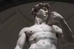 Statyn av David ?r en nedersta sikt utan turister royaltyfri fotografi