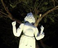 Statyn av en hinduisk gud med fyra h?nder och flera framsidor, nattbelysning, asiatisk kultur royaltyfria foton