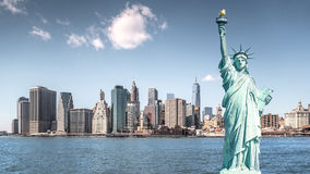 Statyn av frihet, gränsmärken av New York City Royaltyfri Fotografi