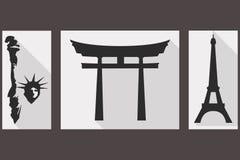 Statyn av frihet Japan port eiffel torn Sikt av diffe stock illustrationer