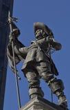 Statyn av grundaren av Montreal, ställed'Armes kvadrerar Arkivbild