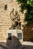 Statyn av konungen David som spelar harpan i Jerusalem, Israel Fotografering för Bildbyråer