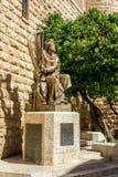 Statyn av konungen David som spelar harpan i Jerusalem, Israel Royaltyfria Foton