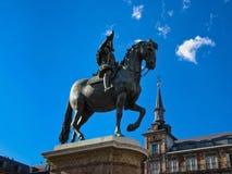 Statyn av konungen Philip III, Madrid Arkivbilder