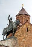 Statyn av konungen Vakhtang Gorgasali i Tbilisi Fotografering för Bildbyråer