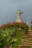 Statyn av Kristus konungen på ön av madeiran Fotografering för Bildbyråer