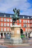 Staty av Philip III, Plazaborgmästare, Madrid arkivbild