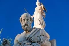 Statyn av Plato. Aten Grekland. Arkivbild
