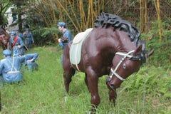 Statyn av soldaten och hästen i den Parkï för röd armé ¼en Œshenzhen, porslin Royaltyfri Fotografi