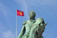 Statyn av tidigare svensk gör till kung Karl XIV Johan Royaltyfria Foton