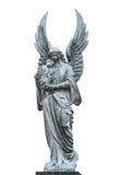 Statyn för grå vit av maria med behandla som ett barn den christ statyn som isoleras på a Arkivfoto