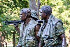 Statyn för tre soldater som firar minnet av vietnamkriget i Washington D C Royaltyfria Foton