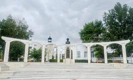 Statyn (monument) av den nationella poeten Mihai Eminescu, Constanta, Rumänien Arkivfoto