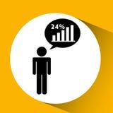 statystyki w kwadratowy guzik odizolowywającym ikona projekcie Zdjęcie Royalty Free
