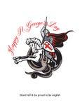 Statywowy Wysoki Dumny Angielski Szczęśliwy St George Statywowy Retro plakat Zdjęcie Royalty Free