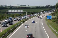 Stau auf der Autobahn in Deutschland Stockbilder