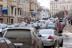 Stau in Moskau Stockfoto
