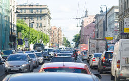 Stau in St Petersburg Lizenzfreies Stockbild