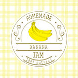 Stauaufkleber-Designschablone für Bananennachtischprodukt mit der gezeichneten Hand skizzierte Frucht und Hintergrund Gekritzelve Stockfotos