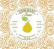 Stauaufkleber-Designschablone für Birnennachtischprodukt mit der gezeichneten Hand skizzierte Frucht und Hintergrund Gekritzelvek Lizenzfreies Stockbild
