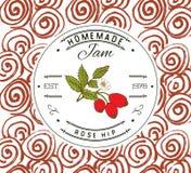Stauaufkleber-Designschablone für Hagebuttenachtischprodukt mit der gezeichneten Hand skizzierte Frucht und Hintergrund Gekritzel Lizenzfreies Stockfoto