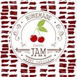 Stauaufkleber-Designschablone für Kirschnachtischprodukt mit der gezeichneten Hand skizzierte Frucht und Hintergrund Gekritzelvek Stockfotos