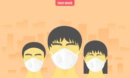 Staub kritisch das Leutetragen schützen Gesichtsmaske vor Luftverschmutzung in der Stadtvektorillustration eps10 vektor abbildung
