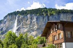 Staubachfall in Lauterbrunnen, Switzerland Royalty Free Stock Images