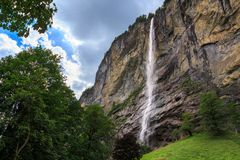 Staubbach waterfall, Switzerland. Staubbach falls, 297 metres 974 ft third highest fall in Switzerland. Lauterbrunnen, Bernese Oberland, Switzerland Royalty Free Stock Image