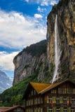 Staubbach-Wasserfall, die Schweiz Stockbilder