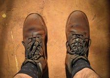 Staubige Stiefel Stockbild