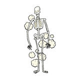 staubiges altes Skelett der komischen Karikatur Stockbild