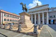 Staue av Giuseppe Garibaldi i Genua, Italien. Fotografering för Bildbyråer